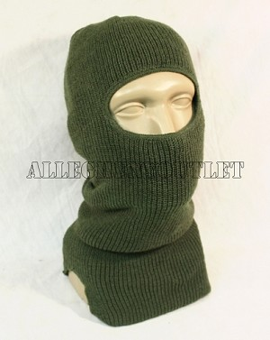 US Military Single Hole -10° C WOOL Balaclava Hood Ski Mask OD Green Camo
