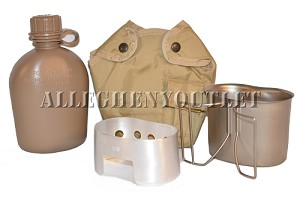 Military SET 1QT Coyote CANTEEN Desert Tan COVER, Stainless Steel CUP, STOVE NEW