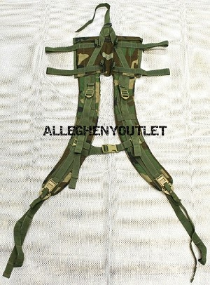 Molle II WOODLAND CAMO ENHANCED Shoulder Straps w/ Tan Buckles and QUICK RELEASE STRAPS EXCELLENT CONDITION